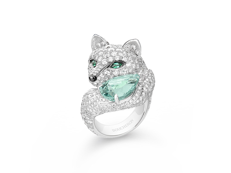 Boucheron Lumière de Nuit - Foxy, la Renarde ring set with a 7,28 ct green pear tourmaline and emeralds, paved with diamonds, on white gold