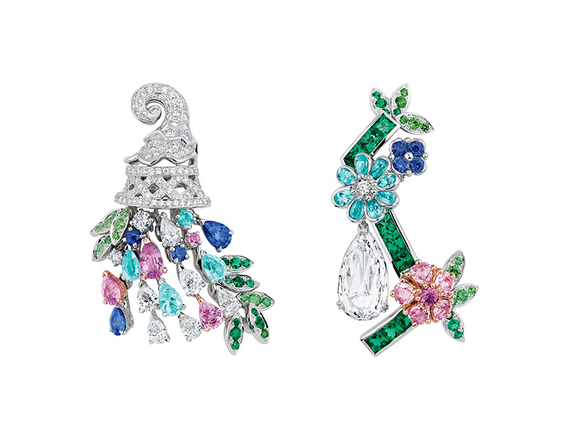 "Dior ""Diamond Orangery"" earrings in white and pink gold, diamonds, pink sapphires, emeralds, Paraiba tourmalines, sapphires and demantoid garnets"