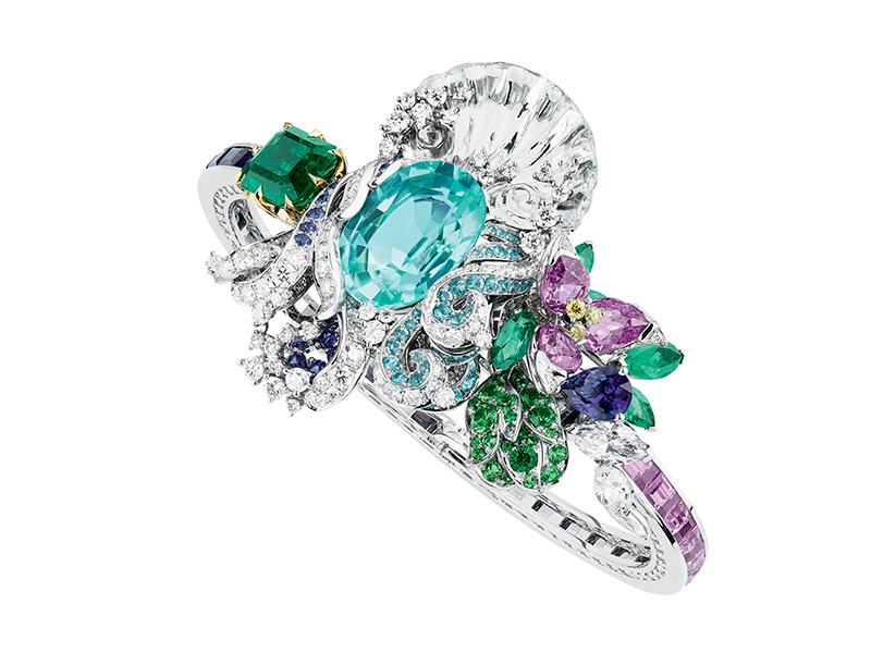 "Dior ""Paraiba Tourmaline Nymphs' Bath"" bracelet in white and yellow gold, diamonds, Paraiba tourmalines, pink sapphires, rock crystal, purple sapphires, sapphires, emeralds, tsavorite garnets and yellow diamonds"