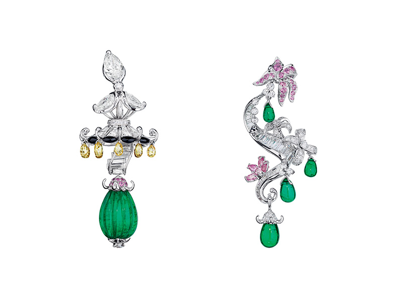 "Dior ""Emerald Trianon"" earrings in white and pink gold, diamonds, emeralds, yellow diamonds, onyx and pink sapphires"