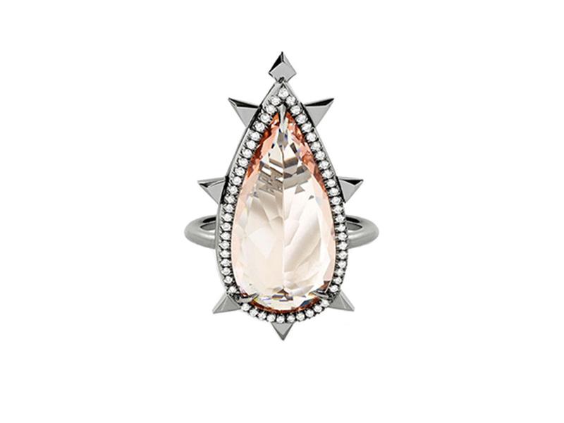 Eva Fehren The Morganite Ring mounted on blackened white gold with morganite and white diamond