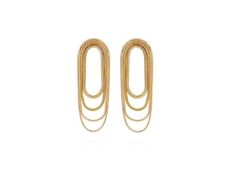 Fernando Jorge Multi chain earrings mounted on 18k yellow gold