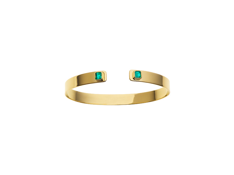 Jemma Wynne Prive emerald rectangle and diamond cuff