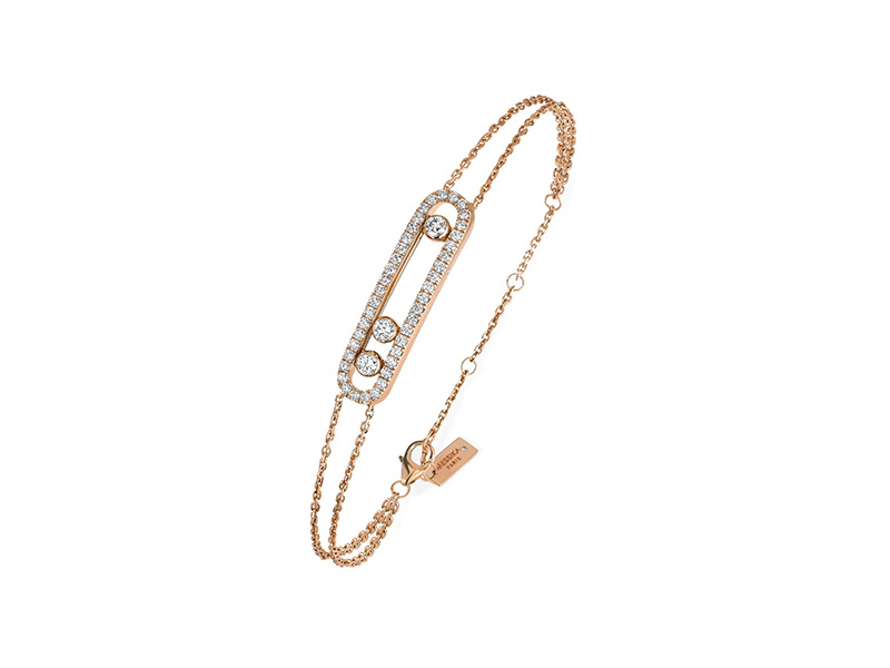 Messika Move Classic bracelet mounted on rose gold with diamonds