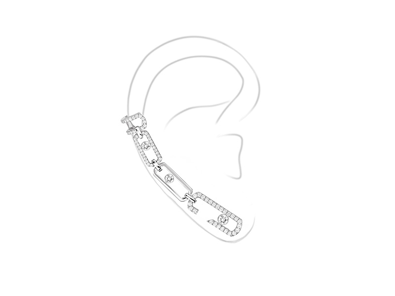 Messika Move Addiction Mono earring mounted on white gold with diamonds