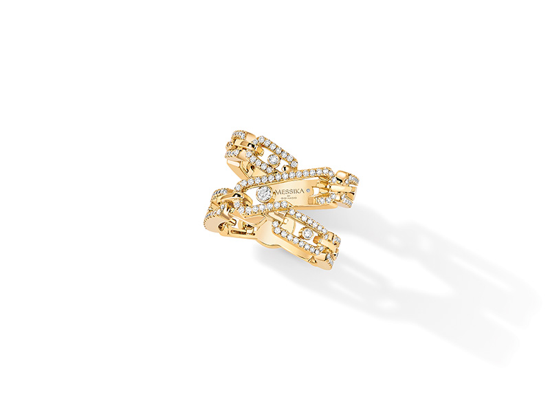 Messika Move High Jewelry Addiction ring mounted on 18 carat yellow gold with diamonds