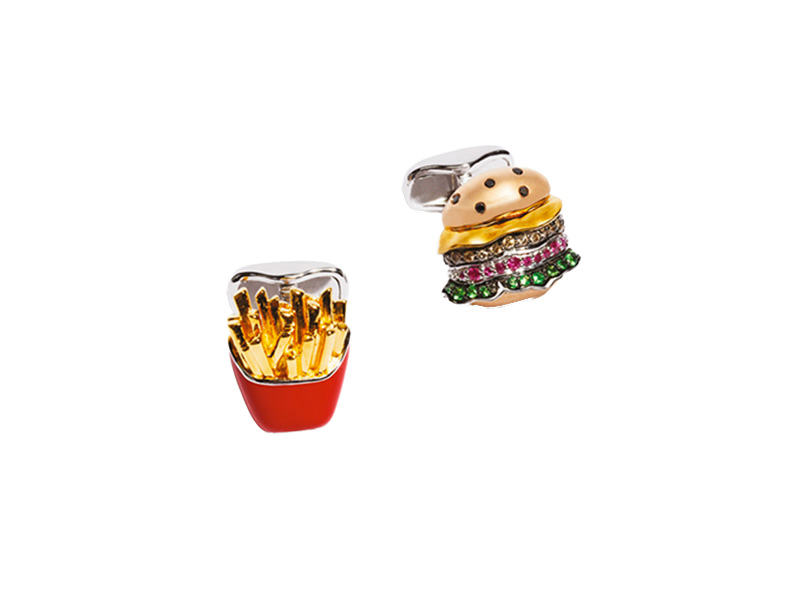 Nadine Ghosn Burger and fries cufflinks mounted on rose and yellow gold and red enamel