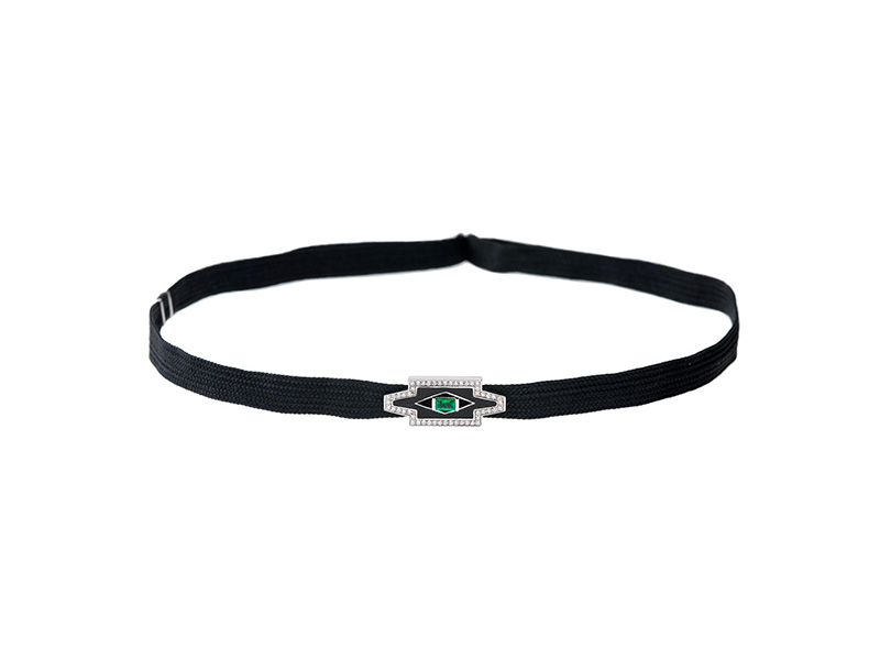 Nikos Koulis Chocker necklace with white diamonds, emerald and black enamel