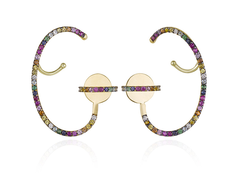 Ana Khouri Lily earrings mounted on 18k yellow gold with multicolored sapphires