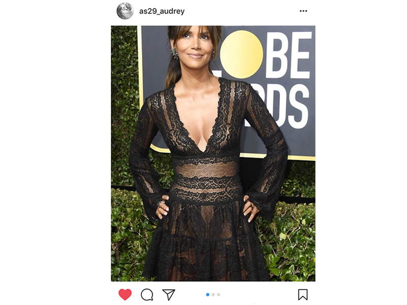 AS29 Halle Berry wore AS29 bamboo ring mounted on black gold with emeralds and black diamonds