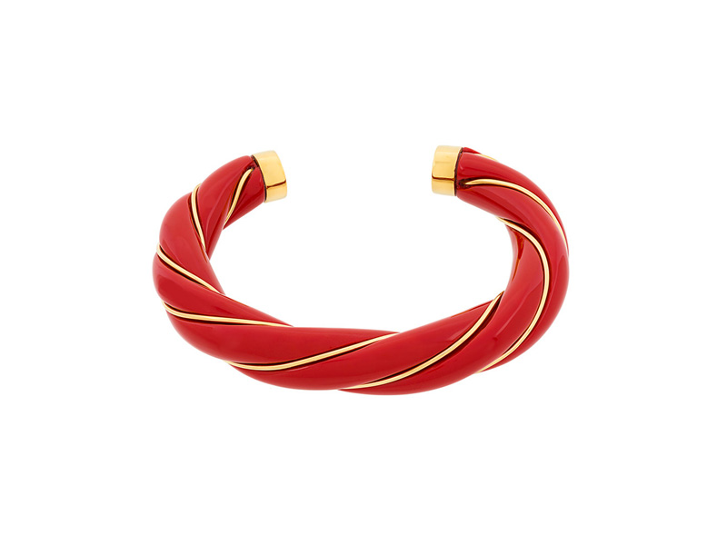 Aurélie Bidermann Diana Vermilion Twisted Bangle mounted on 18k gold-plated and bakelite