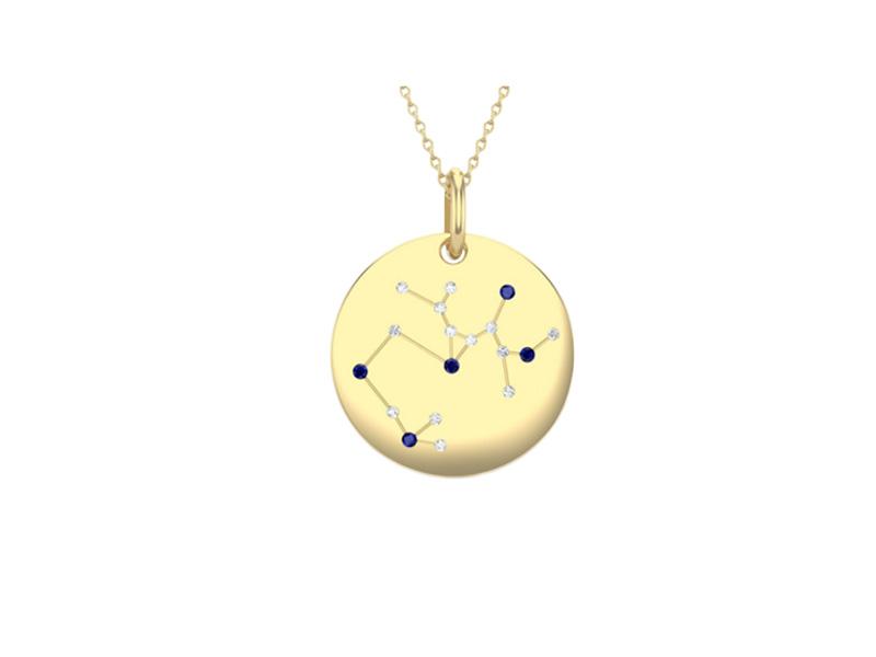 Edendiam Sagittarius pendant mounted on yellow gold with sapphires and diamonds