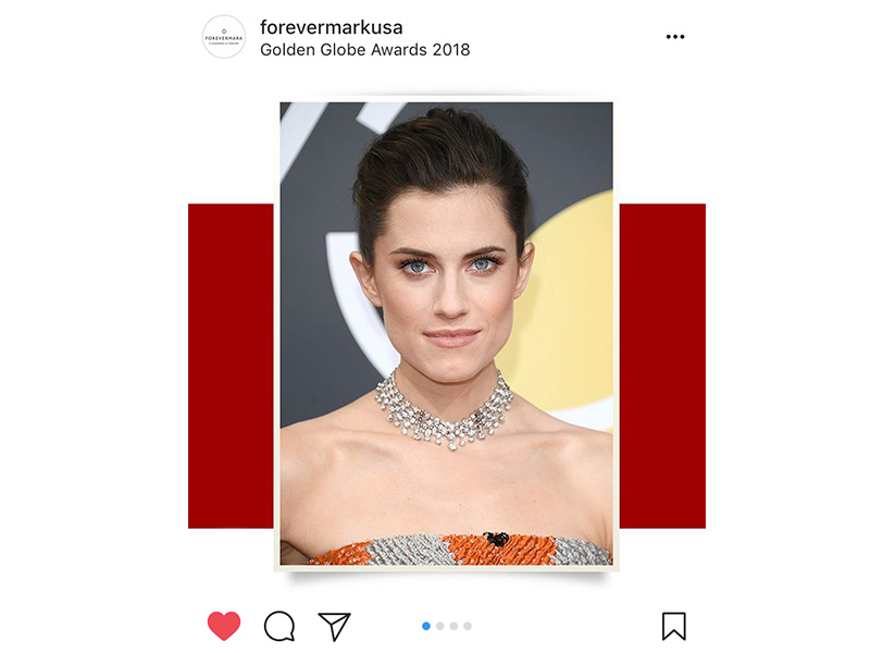Forevermark Allison Williams wore an unique five row diamond choker and diamond bands