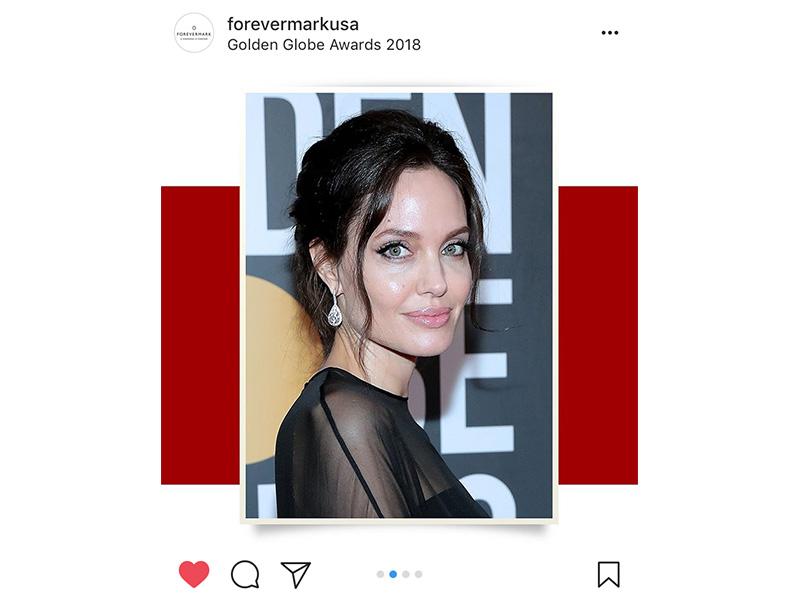 Forevermark Angelina Jolie wore pear shaped Forevermark diamond drop earrings
