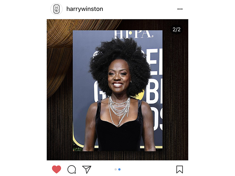 Harry Winston Viola Davis wore Secret Combination diamond necklace set in platinum; Round Brilliant Diamond earstuds set in platinum; Traffic Diamond ring set in platinum