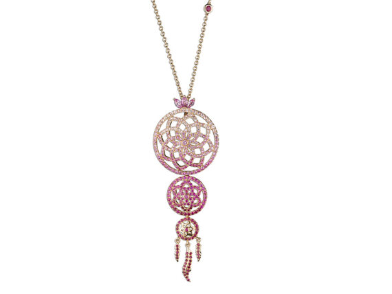 Laura Sayan Yeraz Dream Catcher necklace mounted on 18k rose gold with pink sapphire and red ruby