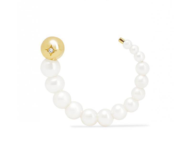 Yvonne Leon Maxi Escargo earring mounted on yellow gold with pearls