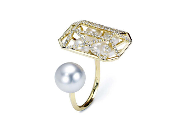 Melanie Georgacopoulos Couture Emerald ring mounted on 18ct yellow gold with white diamonds, white freshwater pearls and south sea pearl
