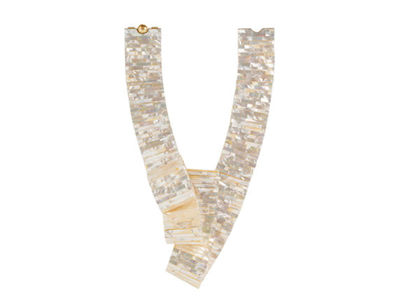 Melanie Georgacopoulos MOP Triple Loop necklace with white mother of pearl tiles with 18ct yellow gold and golden south sea pearl