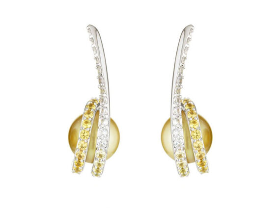 Melanie Georgacopoulos Twist earrings mounted on 18ct white gold set with ascending white and yellow sapphires and golden sea pearls