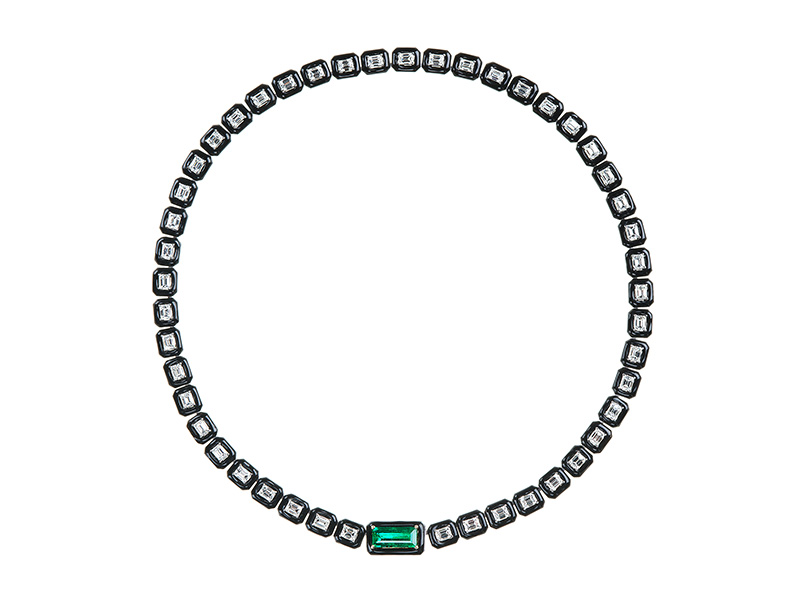Nikos Koulis Oui collection- White gold necklace with emerald cut white diamonds, emerald and black enamel