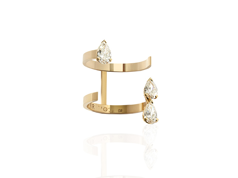 Repossi Serti sur vide collection - Ring mounted on rose gold with pear diamonds