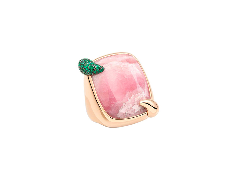 Pomellato Pink Hawaiian Peony rhodochrosite ring mounted on rose gold with emeralds