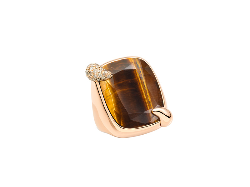 Pomellato Tea in the Sahara tiger's eye ring mounted on rose gold with white diamonds