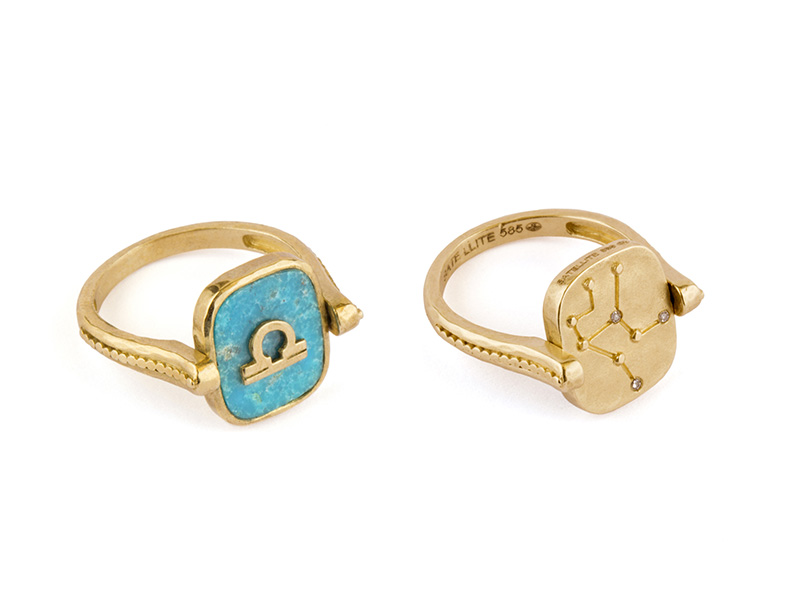 Satellite Paris Pivoting ring mounted on yellow gold with turquoise and diamonds