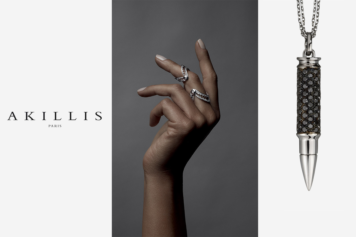 akillis logo ring white gold diamonds