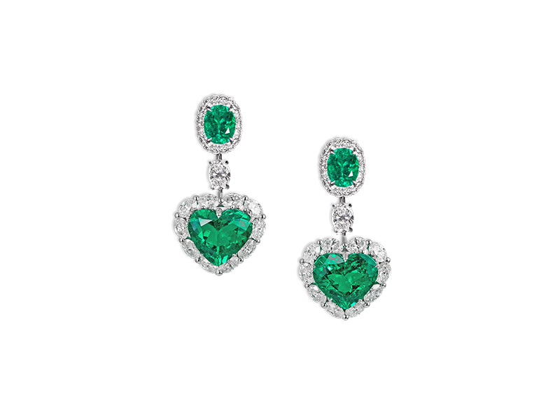 David morris colombian emerald heart earrings marquise diamond white gold