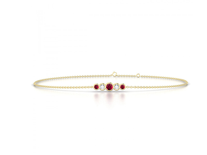 edendiam yellow gold rubies diamonds bracelet