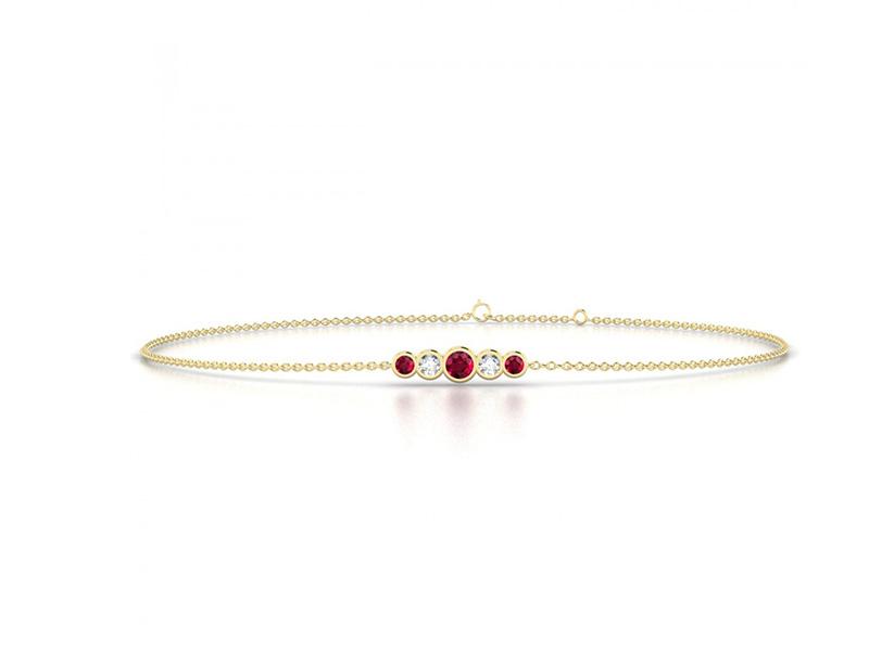 edendiam yellow gold rubies diamonds bracelet