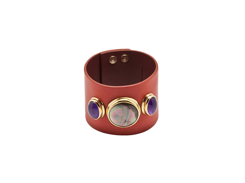 helene prime leather cuff mother of pearl amethysts red