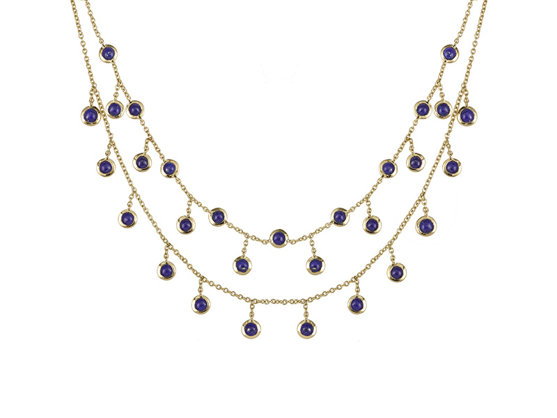 Laura sayan necklace choker pampille lapis lazuli yellow gold