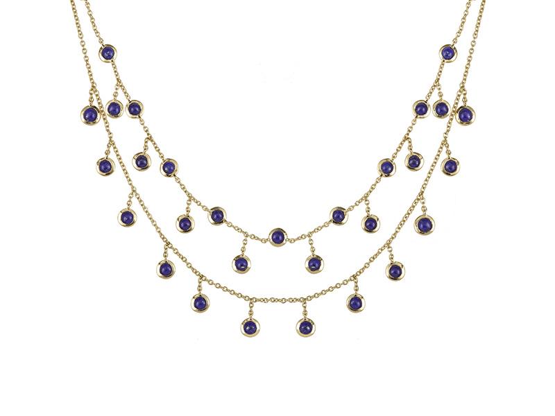 Laura sayan necklace choker pampille lapis lazuli yellow gold