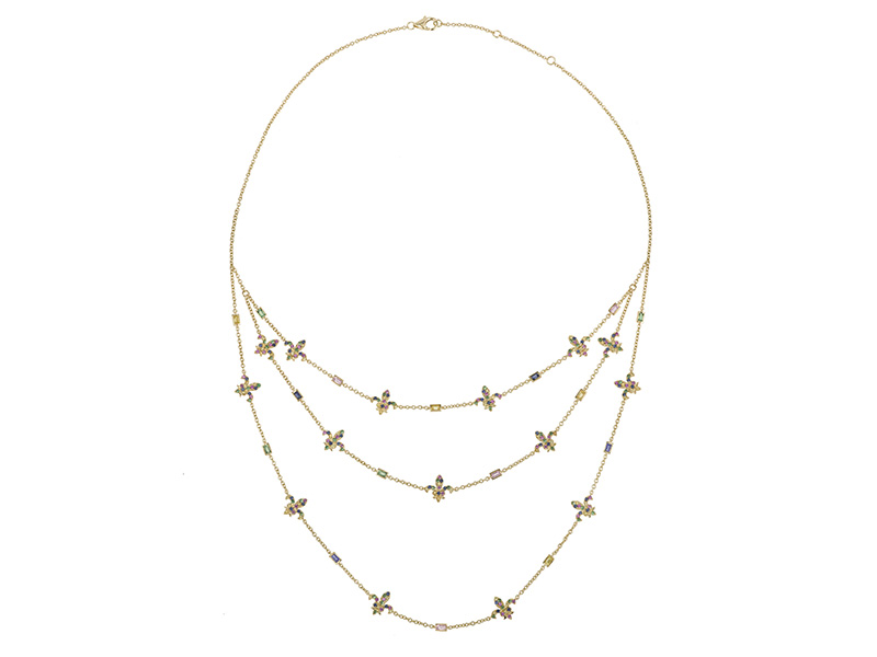 Laura Sayan choker 3 necklaces multi sapphires