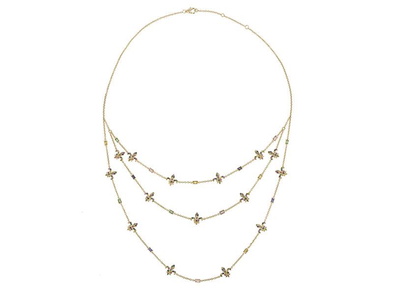 Laura Sayan choker 3 necklaces multi sapphires