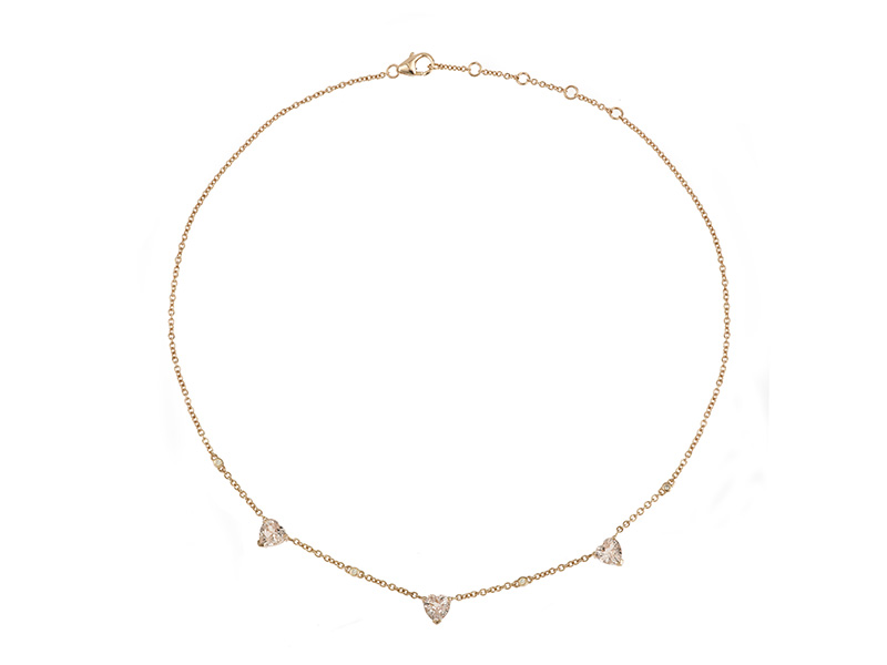 laura sayan coeur rose necklace gold heart diamonds