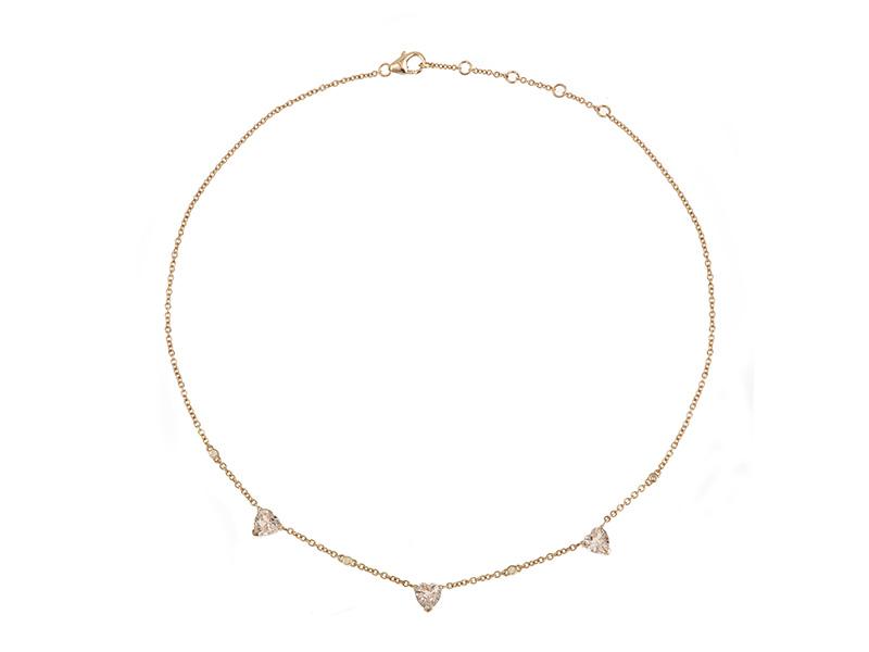 laura sayan coeur rose necklace gold heart diamonds