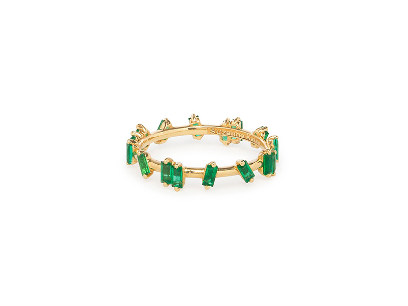 Suzane Kalan yellow gold emerald barb band baguettes
