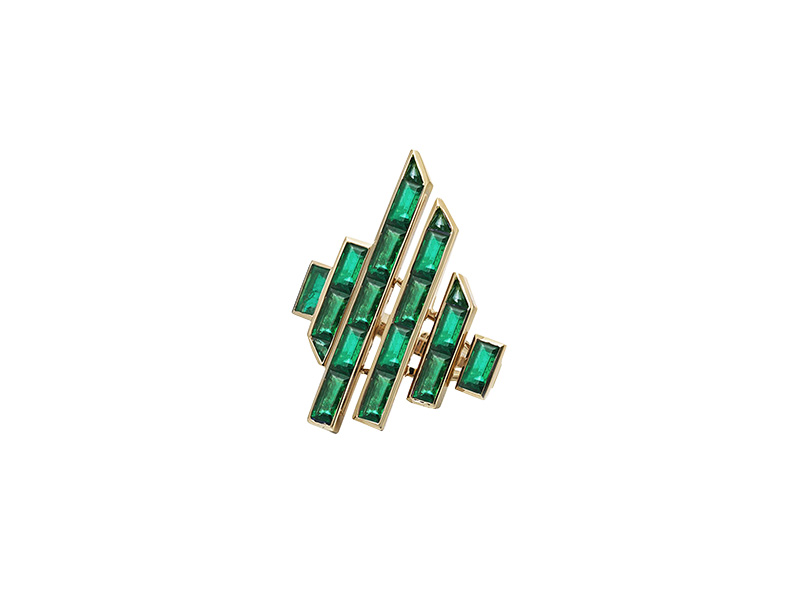 Tomasz donocik yellow gold emeralds stones ring