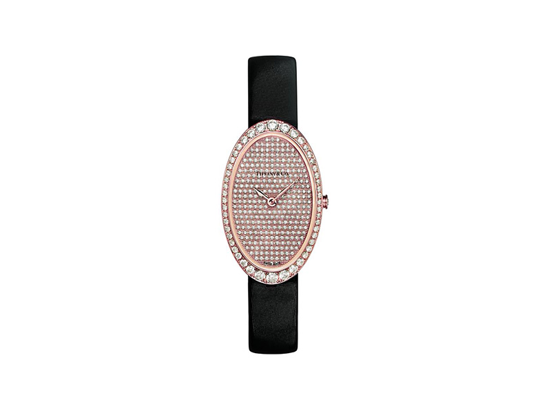 tiffany cocktail watch two hand pavé dial black satin strap rose gold diamond