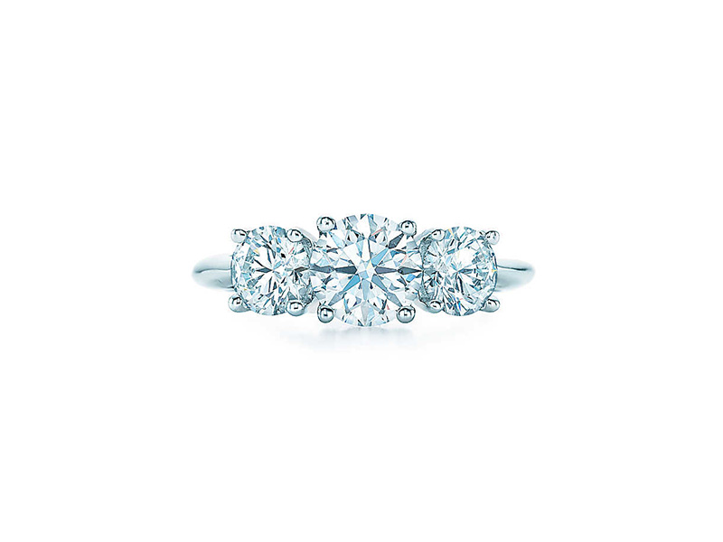 tiffany engagement ring three round brilliant diamonds platinum
