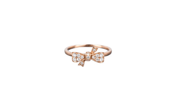 Vanessa Martineli Bague Flirty bow pinky finger or rose diamants