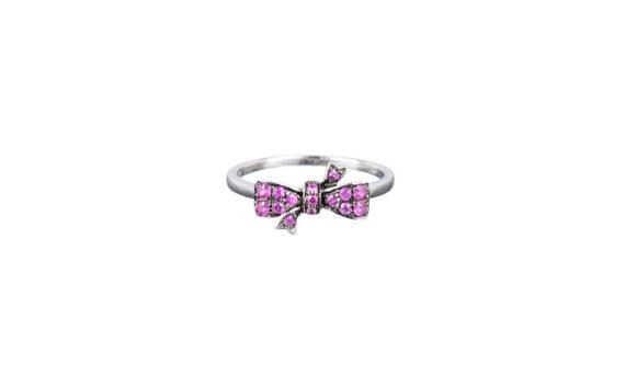 Vanessa Martineli Bague Flirty bow pinky finger or blanc saphir