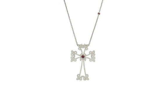 Laura Sayan Collier Arev or blanc diamant blanc rubis