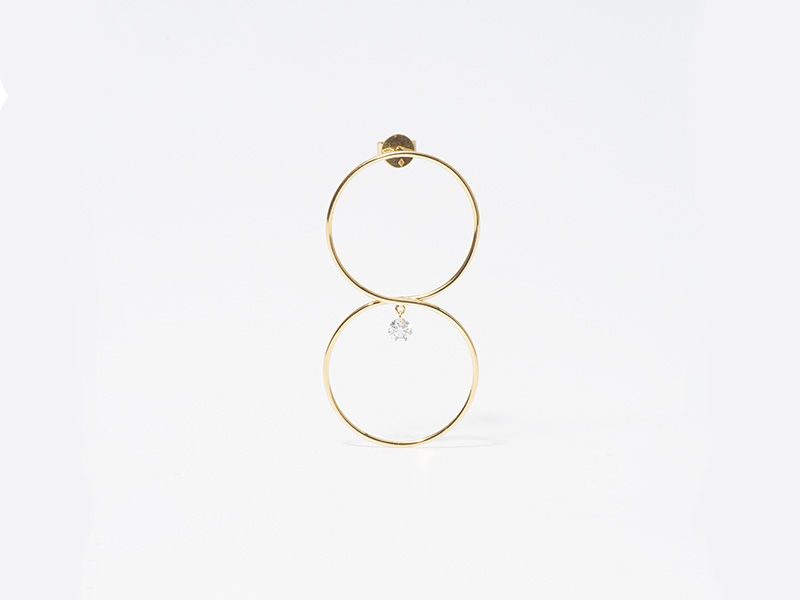 Persee 8 earring yellow gold diamond