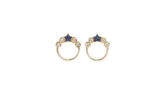 Spallanzani Jewelry Boucles d'oreilles Stella or jaune 18ct saphirs blancs saphirs bleus