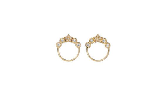 Spallanzani Jewelry Boucles d'oreilles Stella or jaune 18ct saphirs blancs